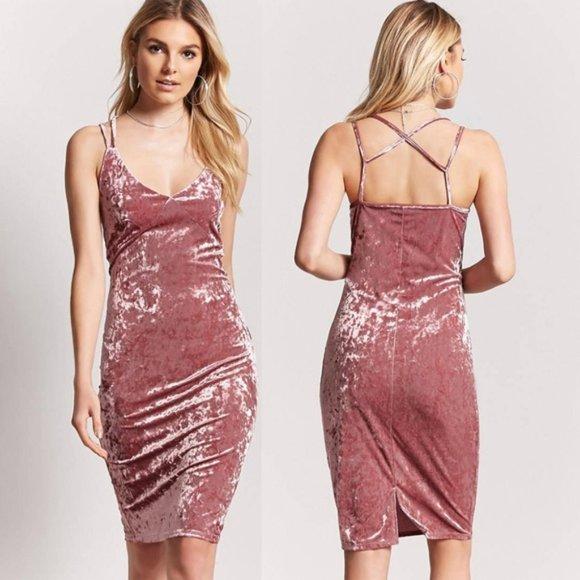 Forever 21 Pink Crushed Velvet Bodycon Midi Dress